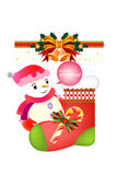 Smiling snowman on the christmas socks with decoration - illustration eps10 Royalty Free Stock Photo