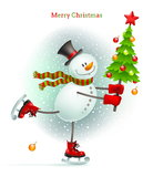 Smiling snowman with Christmas tree. In hands skating on ice Stock Photography