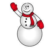Smiling Snowman Clip Art 2. A clip art illustration of a snowman wearing red mittens and scarf, isolated on white background Stock Photography
