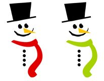Smiling Snowman Clip Art 3. A clip art illustration of ayour choice of 2 snowmen wearing scarves and hats isolated on white Royalty Free Stock Photography