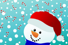Smiling snowman with falling candy canes Stock Photos