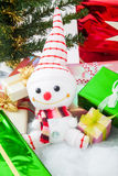 Smiling snowman with gift box Royalty Free Stock Image