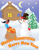 Smiling snowman with gift Royalty Free Stock Photo