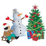 Smiling snowman with gifts and Christmas tree, vector illustration Stock Images