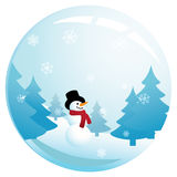 Smiling Snowman in Glass Sphere Royalty Free Stock Photos