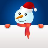 Smiling snowman, holding blank page Stock Photography