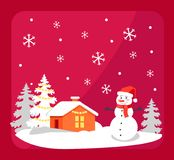 Smiling Snowman and House Vector Illustration. Smiling snowman in bright red hat and orange house with snow-covered roof vector illustration  on red background Stock Photography