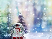 Free Smiling Snowman In A Snow Globe Against The Background Of Christmas Trees, Bokeh And Snowflakes Stock Photo - 161022250
