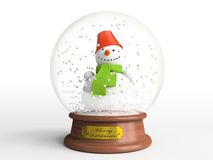 Smiling Snowman In Snow Globe Royalty Free Stock Image