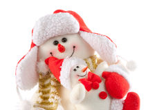 Smiling snowman with kid Stock Image