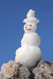 Smiling snowman in the mountains Royalty Free Stock Photos
