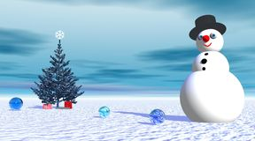 Smiling snowman near fir tree and gifts. By cloudy weather Stock Photo