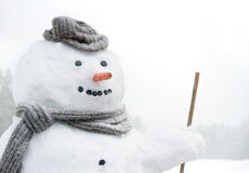 Smiling snowman outdoors in snowfall. Closeup of smiling snowman with woolen hat, scarf and carrot nose, outdoors in snowfall Stock Photo