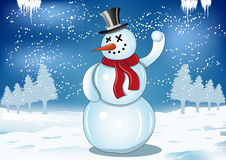 Smiling snowman with red scarf and snowball Stock Photos