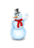 Smiling snowman with red scarf and snowball Stock Photo