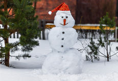 Smiling Snowman in a Santa Claus hat. Christmas theme Stock Image