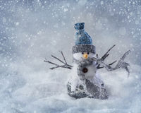 Smiling snowman. Standing in the snow Royalty Free Stock Photos