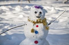The smiling snowman stock photography