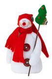 Smiling snowman toy. Smiling snowman stuffed toy isolated over white. For decoration and design purposes Stock Image