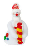 Smiling snowman toy. Smiling snowman stuffed toy isolated over white. For decoration and design purposes Royalty Free Stock Photo