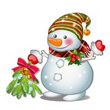 A smiling snowman wearing a striped cap. Sketch for greeting card, festive poster or party invitations.The attributes of. Christmas and New year Stock Photography