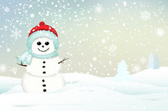 Smiling snowman in winter landscape Royalty Free Stock Photo
