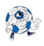 Smiling soccer ball cartoon Royalty Free Stock Photos