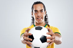 Smiling soccer player Stock Image