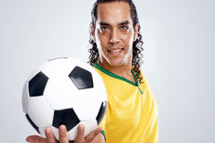 Smiling soccer player Royalty Free Stock Images