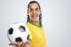 Smiling soccer player Royalty Free Stock Photo