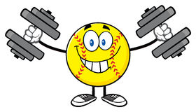 Smiling Softball Cartoon Mascot Character Working Out With Dumbbells Stock Photography