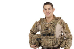 Smiling soldier against white Stock Images