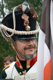 Smiling soldier at Borodino historical reenactment Royalty Free Stock Photos