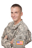 Happy Soldier on white background Royalty Free Stock Image