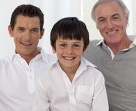 Smiling son, father and grandfather stock photos