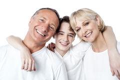 Smiling son hugging his mother and father Royalty Free Stock Photo