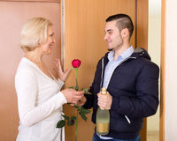 Smiling son and senior mother Royalty Free Stock Photo