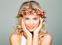 Smiling Spa Model Woman with Healty Clean Skin. Blonde Curly and Flower Wreath. Antiaging and Cosmetology Background Stock Photos