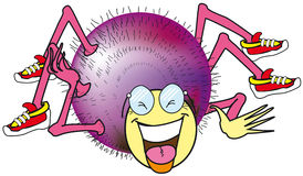 Smiling spider. Cartoon of a colorful spider laughing heartily with his shoes on each foot Stock Photos