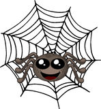 Smiling spider sitting on a web Stock Photography