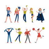 Smiling sport fans and supporters characters. Support for team sports vector Illustrations Royalty Free Stock Photos
