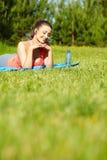 Smiling sport fitness model outside Stock Photo