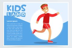 Smiling sportive boy running, kids land banner flat vector element for website or mobile app. With sample te Royalty Free Stock Images