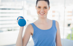 Smiling sporty woman exercising with dumbbell Stock Photography