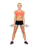 Smiling sporty woman with heavy steel dumbbells Royalty Free Stock Images