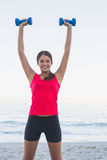 Smiling sporty woman holding dumbbells Stock Photography