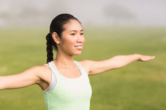 Smiling sporty woman working out Royalty Free Stock Image