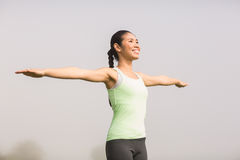 Smiling sporty woman working out Stock Images