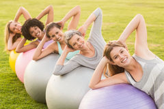 Smiling sporty women working out with exercise balls. Portrait of smiling sporty women working out with exercise balls in parkland Stock Photography