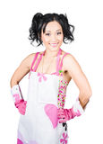 Smiling spring cleaning woman. Isolated housework. Spring cleaning woman smiling while having fun doing chores in housework apron and washing gloves, isolated on Stock Images